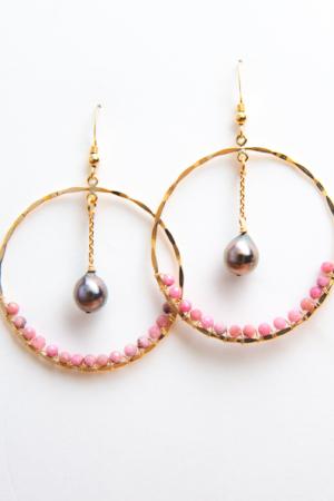 Créoles Perles de Tahiti et Rhodonite
