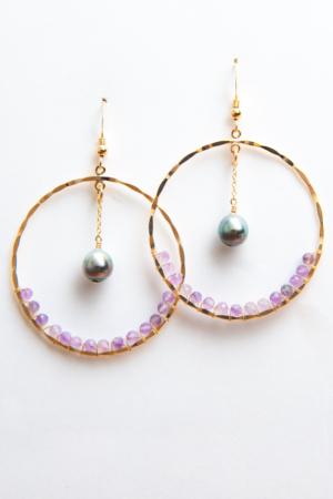 Créoles Perles de Tahiti et Améthyste